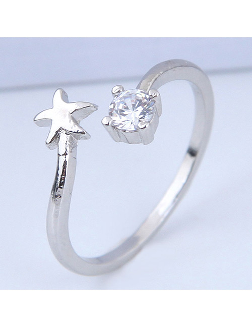 Elegant Silver Color Star Shape Decorated Opening Ring