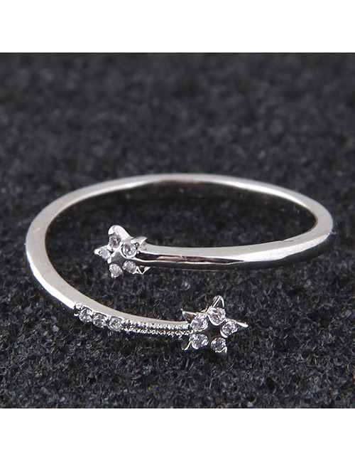 Elegant Silver Color Flowers Decorated Pure Color Opening Ring
