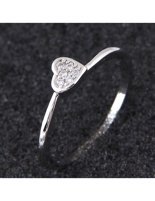 Elegant Silver Color Heart Shape Decorated Pure Color Ring