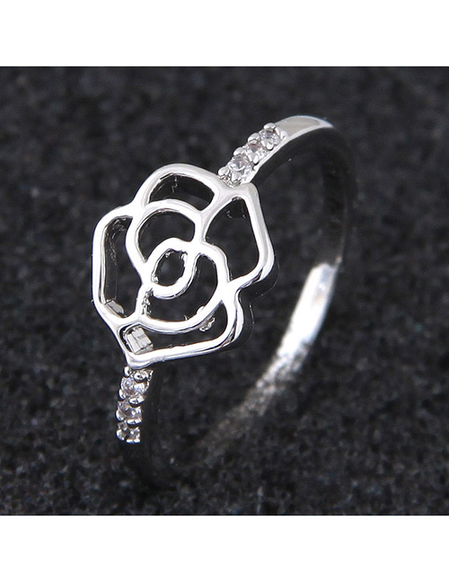 Elegant Silver Color Hollow Out Rose Design Ring