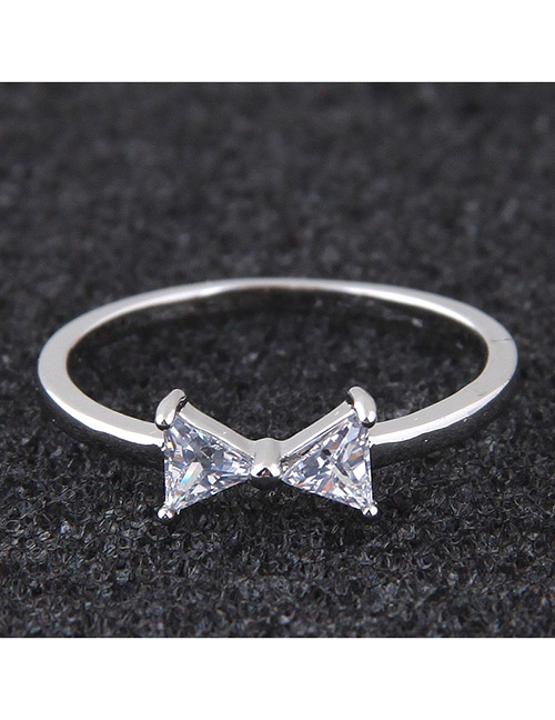 Elegant Silver Color Bowknot Shape Design Simple Ring