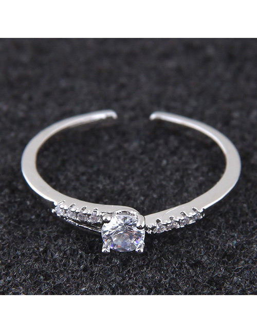 Elegant Silver Color Pure Color Design Opening Ring