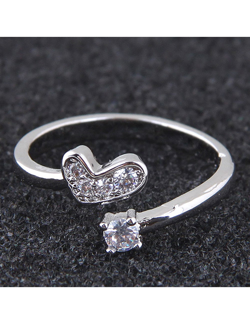 Elegant Silver Color Heart Shape Decorated Opening Ring