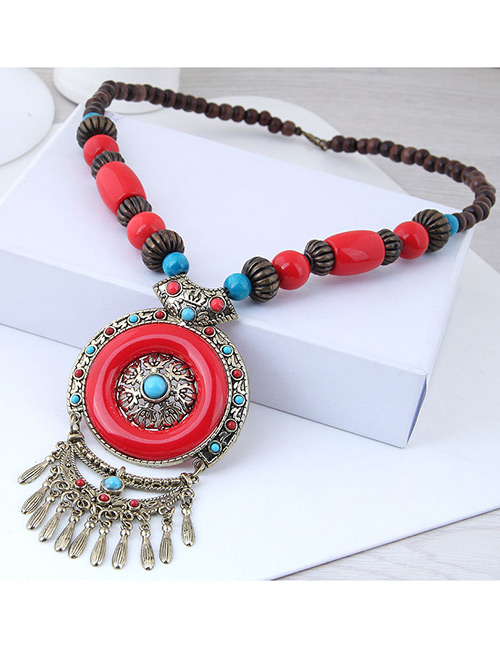 Fashion Red Round Shape Decorated Tassel Necklace
