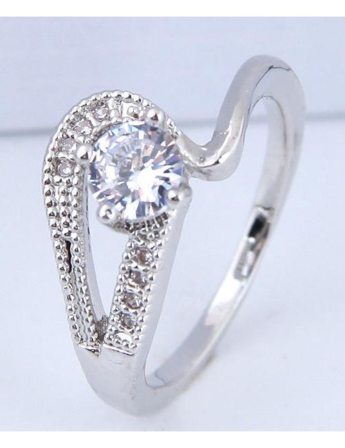 Fashion Silver Color Diamond Decorated Ring