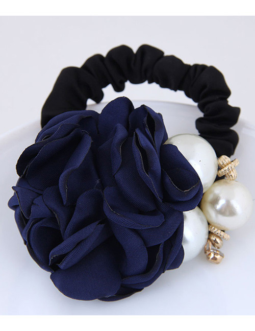 Fashion Navy+white Flower Shape Decorated Hair Band