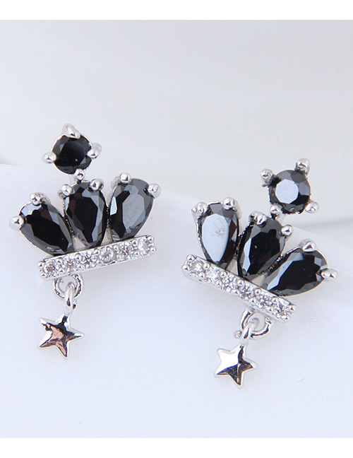 Simple Black Crown Shape Decorated Earrings