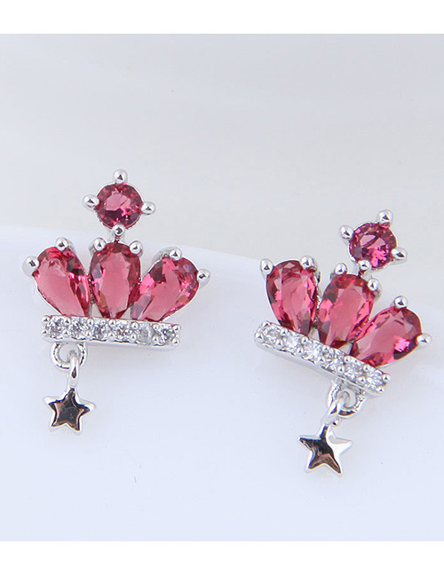 Fashion Pink Crown Shape Decorated Earrings