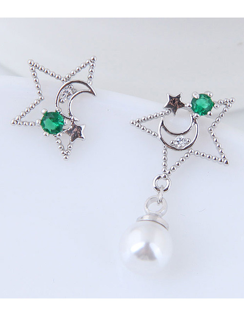 Simple Silver Color+green Star Shape Decorated Earrings