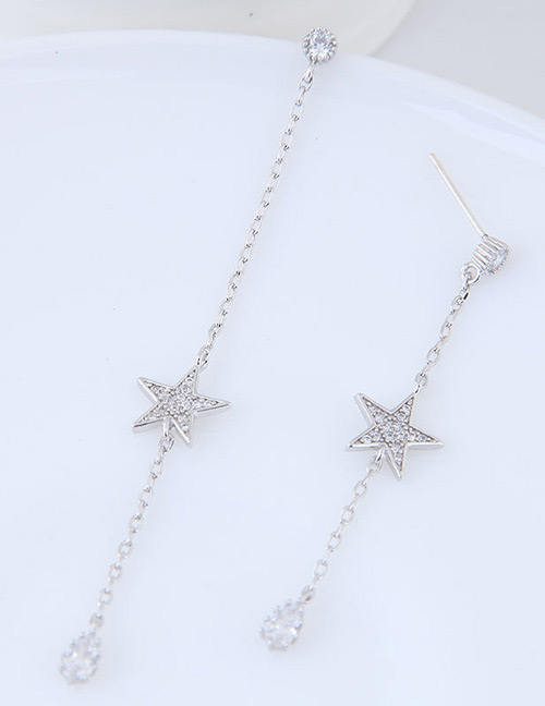 Simple Silver Color Star Shape Decorated Earrings