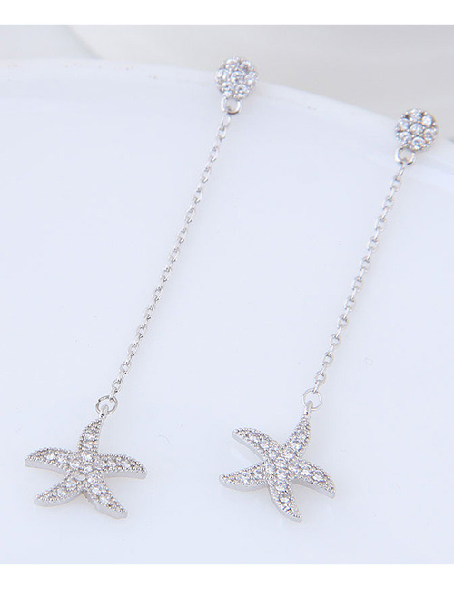 Simple Silver Color Starfish Shape Decorated Earrings