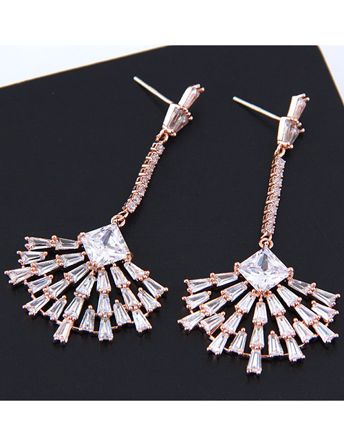 Simple Rose Gold Sector Shape Decorated Pure Color Earrings