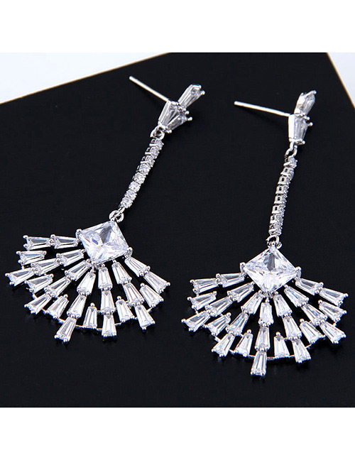 Fashion Silver Color Sector Shape Decorated Pure Color Earrings