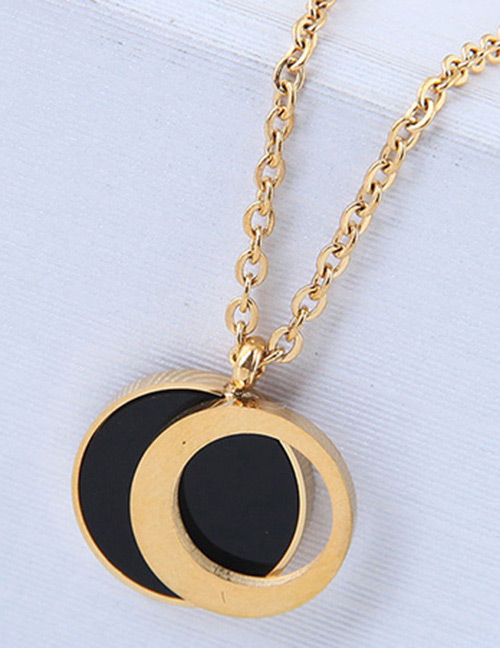 Fashion Gold Color+black Round Shape Decorated Necklace
