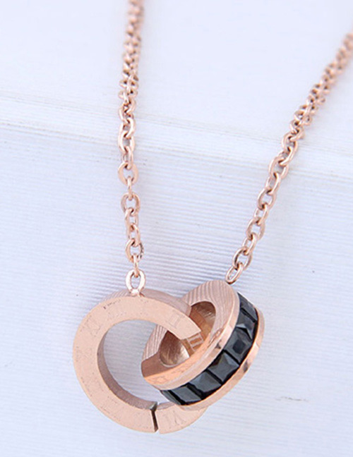 Fashion Rose Gold Round Shape Decorated Necklace