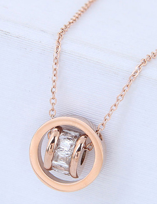 Fashion Rose Gold Diamond Decorated Pure Color Necklace