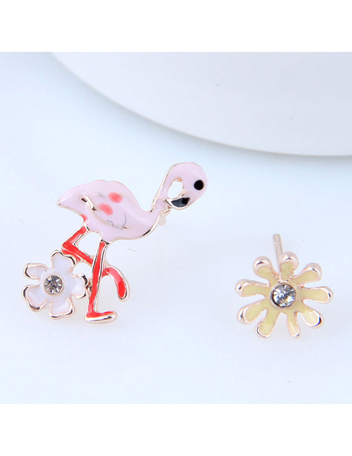 Fashion Multi-color Flamingo&flower Shape Decorated Earrings