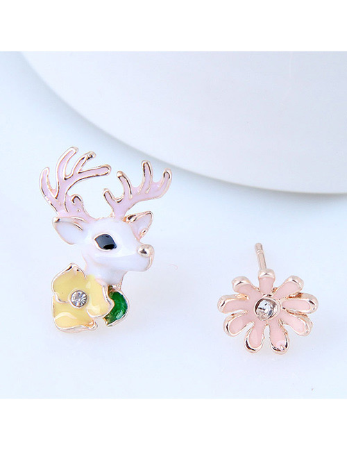 Fashion Multi-color Goat&flower Shape Decorated Earrings