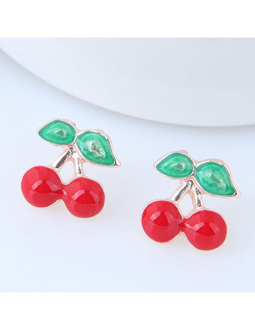 Fashion Red+green Cherry Shape Decorated Earrings (12 Pcs)
