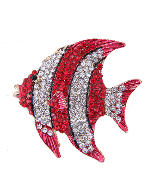 Fashion Red+white Full Diamond Design Fish Shape Brooch