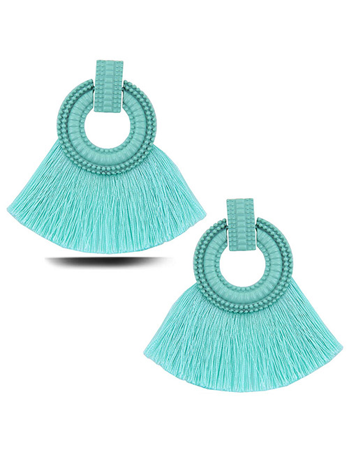 Elegant Pale Blue Circular Ring Decorated Tassel Earrings