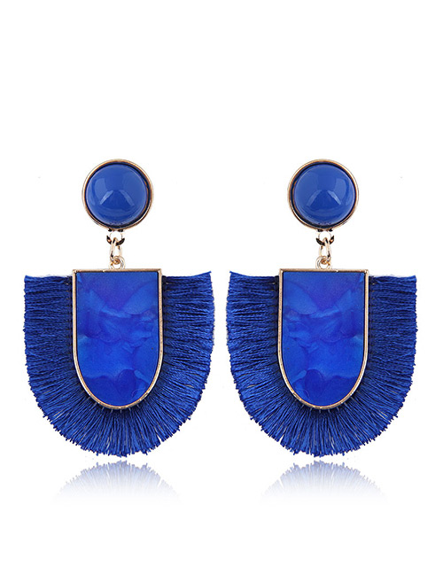 Elegant Sapphire Blue U Shape Design Tassel Earrings