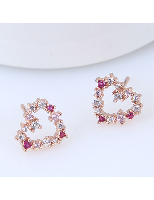 Sweet Gold Color Full Diamond Design Heart Shape Earrings
