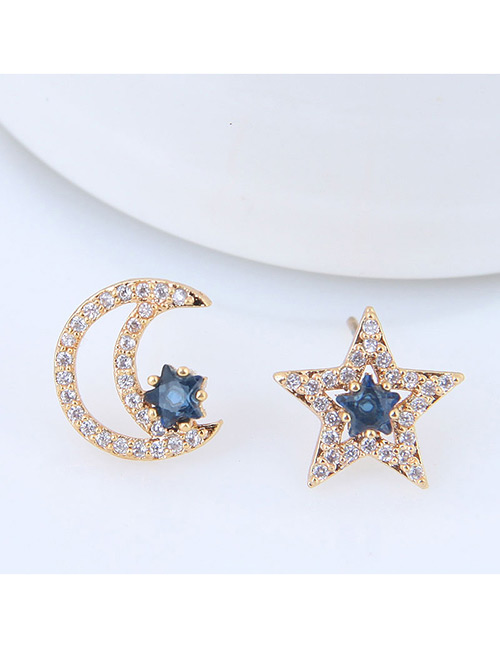 Sweet Gold Color Moon&star Shape Design Earrings