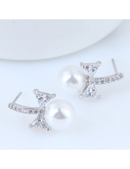 Sweet Silver Color Bowknot Shape Design Simple Earrings