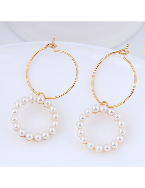 Sweet Gold Color Full Pearls Decorated Simple Earrings