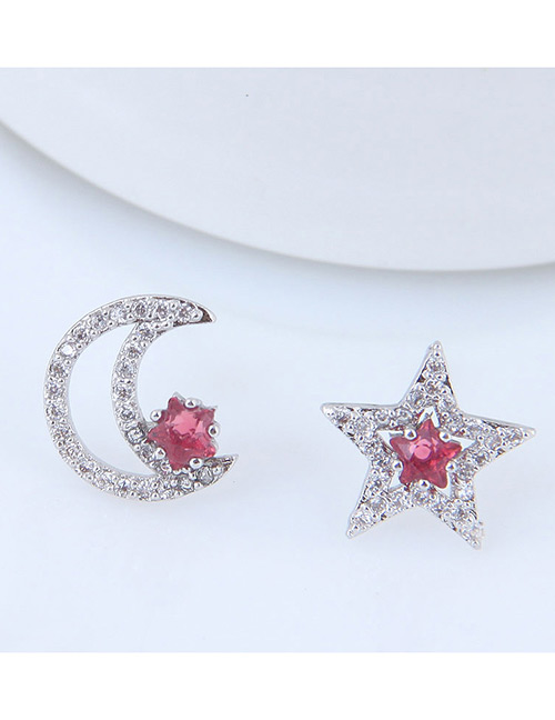 Sweet Silver Color Moon&star Shape Design Earrings