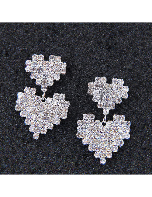 Sweet Silver Color Heart Shape Design Pure Color Earrings