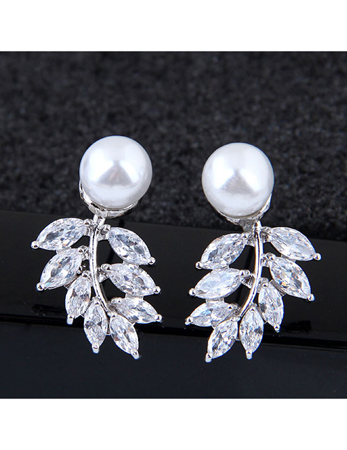 Sweet Silver Color Leaf Shape Design Pure Color Earrings