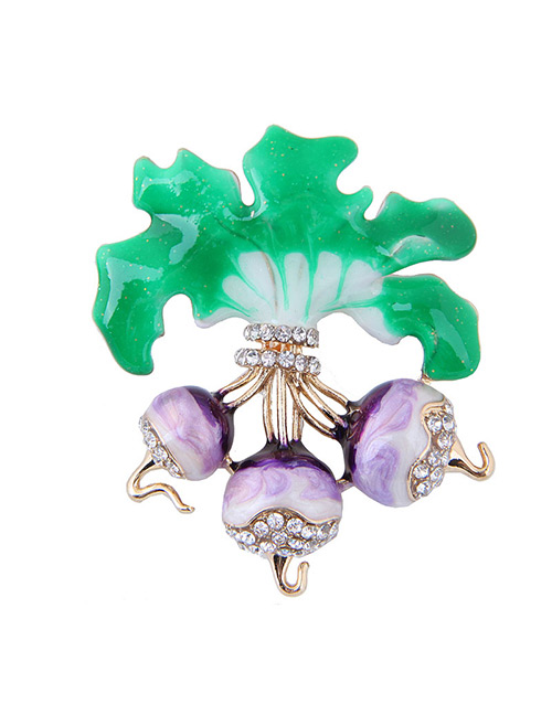 Elegant Green+purple Spinach Shape Design Simple Brooch