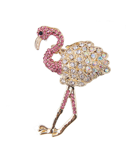 Elegant Pink Full Diamond Design Ostrich Shape Brooch