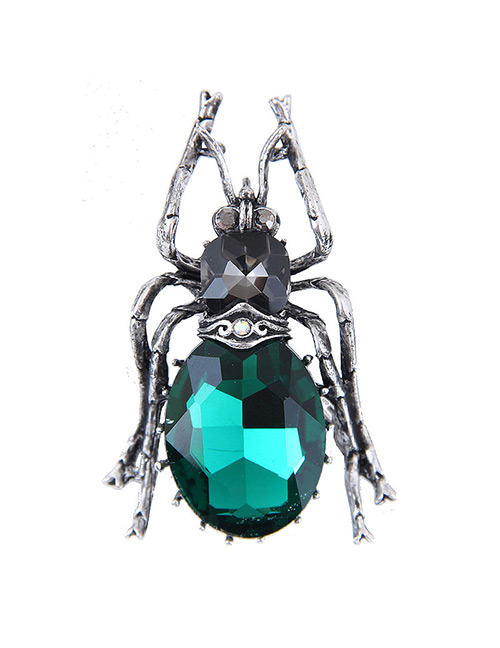 Elegant Green Spider Shape Decorated Brooch