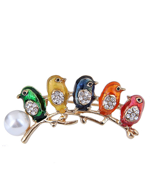 Elegant Multi-color Birds&pearls Decorated Brooch