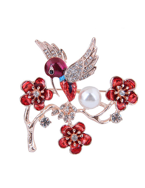 Elegant Red Flowers&bird Decorated Brooch