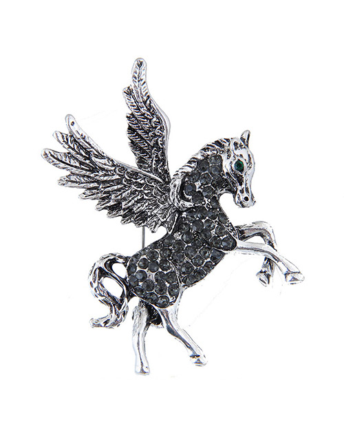 Elegant Silver Color Horse Shape Design Pure Color Brooch