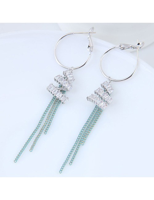 Elegant Green+white Tassel Decorated Long Earrings