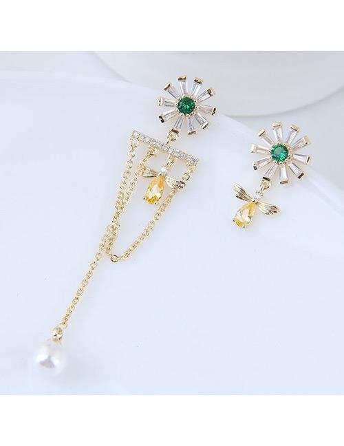 Elegant Green+yellow Flower&tassel Decorated Asymmetric Earrings