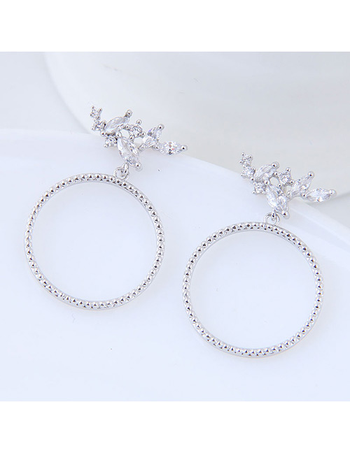 Elegant Silver Color Circular Ring Design Pure Color Earrings