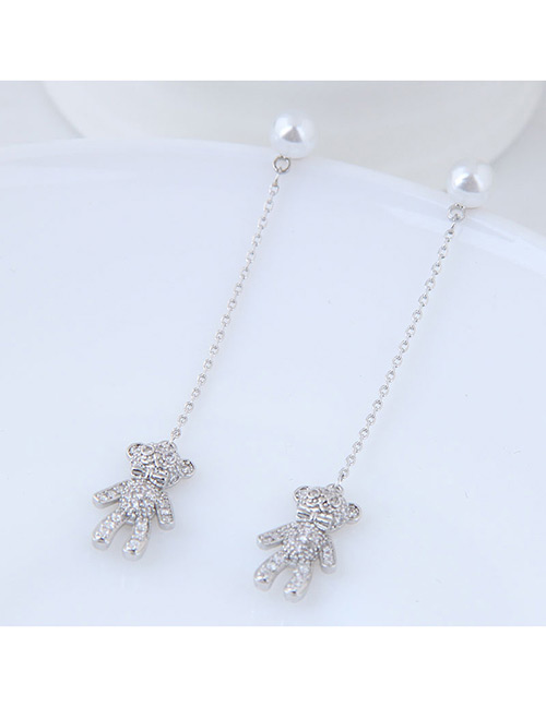 Elegant Silver Color Bear Pendant Decorated Long Earrings
