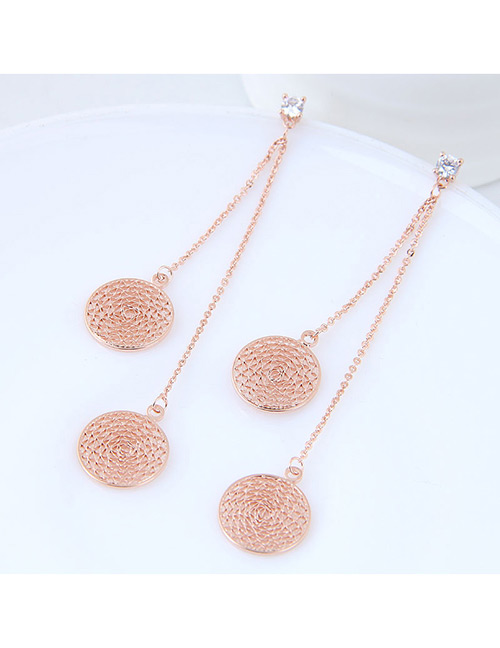 Elegant Rose Gold Round Shape Design Pure Color Earrings
