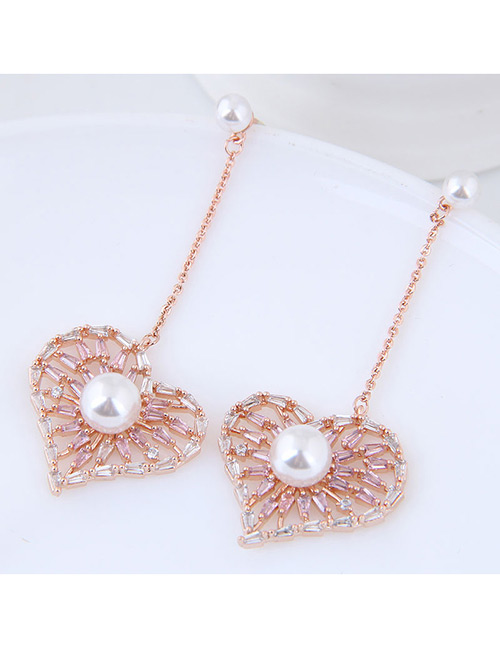 Elegant Rose Gold Pearls Decorated Heart Shape Earrings