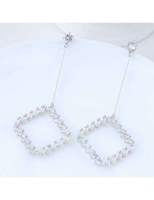 Elegant Silver Color Square Shape Pendant Decorated Earrings