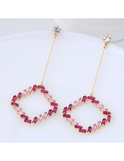 Elegant Gold Color Diamond Decorated Square Shape Earrings