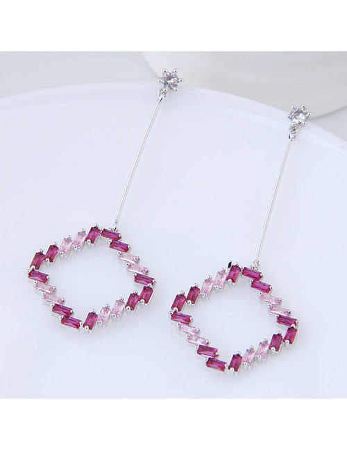 Elegant Silver Color Diamond Decorated Square Shape Earrings