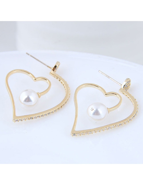 Elegant Gold Color Heart Shape Design Pure Color Earrings