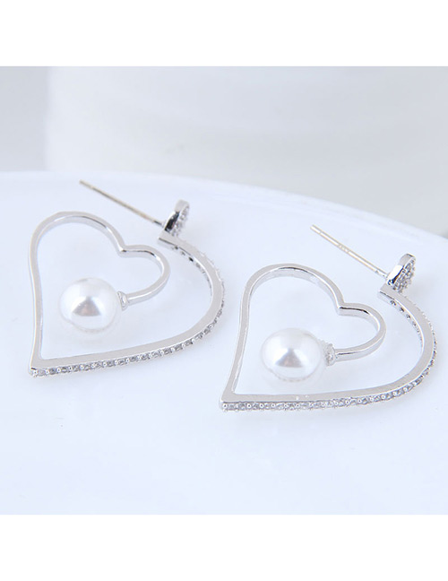 Elegant Silver Color Heart Shape Design Pure Color Earrings